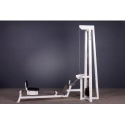 Maszyna do ćwiczeń mięśni grzbietu i nóg wioślarz z wózkiem na prowadnicach