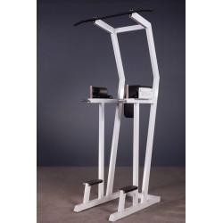Poręcze wznosy nóg na brzuch i wyciskanie na triceps z drążkiem do podciągania nad głową